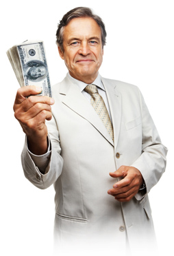 Creating Wealth Without Risk  Image of rich investor money in hand